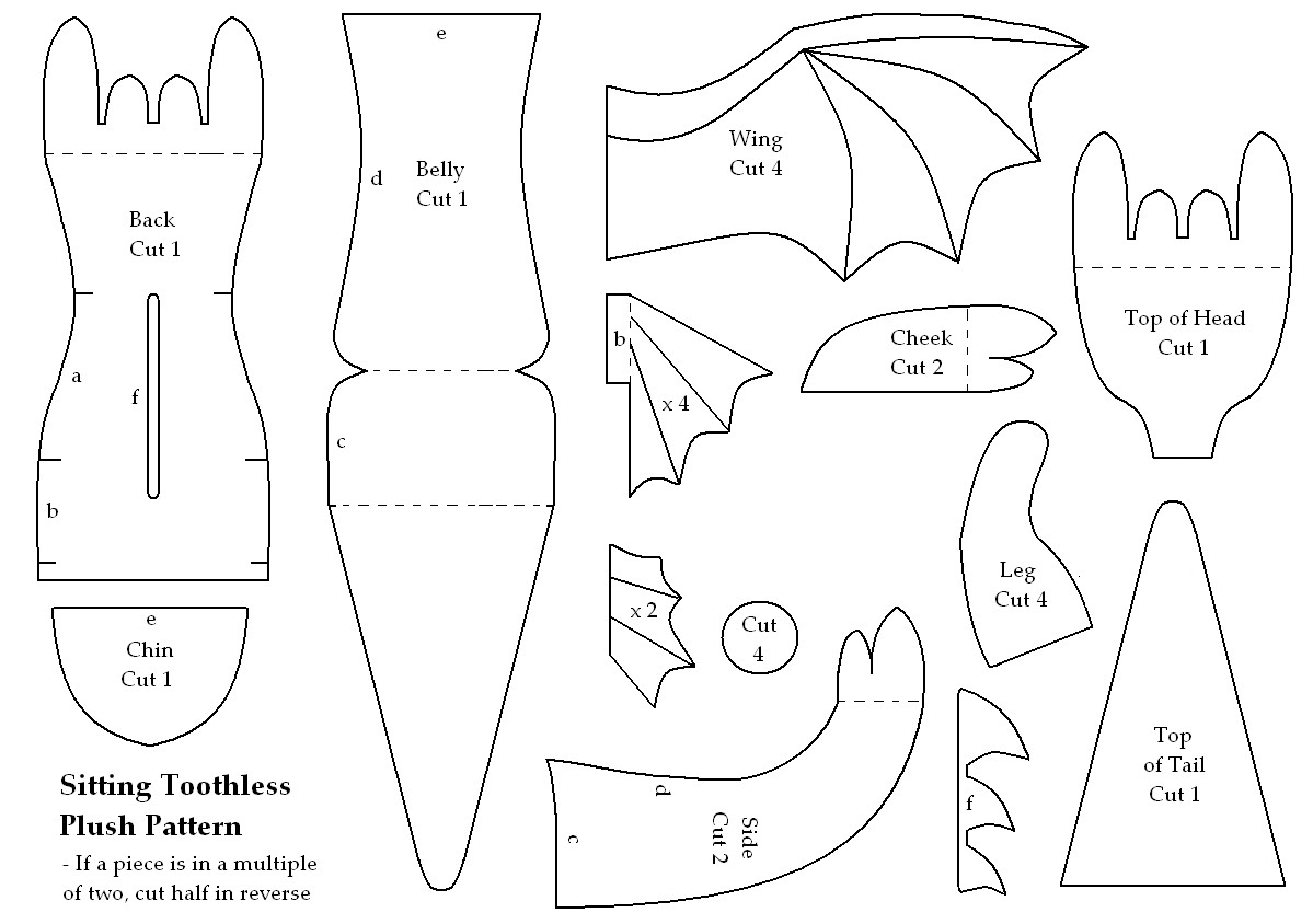 dragon cutout template - toothless mini plush how to train your dragon